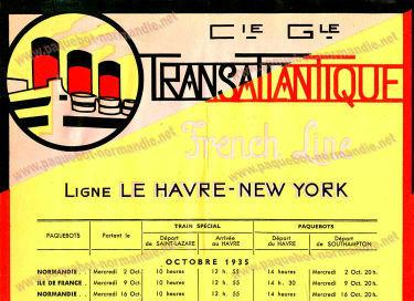 S.S NORMANDIE - CALENDRIER TRAINS TRANSATLANTIQUES CTTPF 1935-10