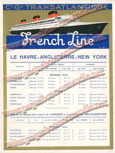 S.S NORMANDIE - CALENDRIER TRAINS TRANSATLANTIQUES CTTP 1935-2