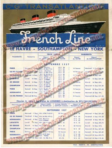 S.S NORMANDIE - CALENDRIER TRAINS TRANSATLANTIQUES CTTP 1937-9