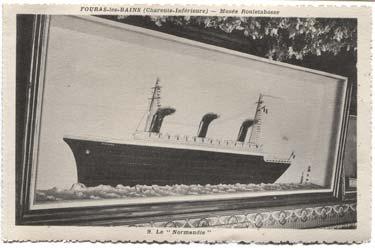 S.S PAQUEBOT NORMANDIE - Carte postale Classique Noir et blanc - Editeur DAVID - FOURAS LES BAINS