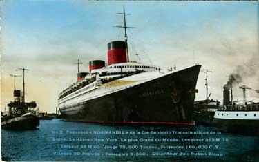 PAQUEBOT S.S NORMANDIE - Carte postale couleurs glacée - Editeur : DELANOUE - Réf. Site : DELCOG 1-2 PSB