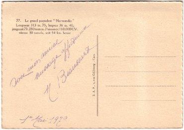 S.S NORMANDIE - Carte postale Grand format classique Noir et Blanc E.A.P Réf. 2-77 Verso