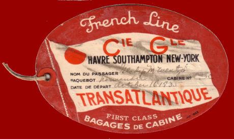PAQUEBOT NORMANDIE - Etiquette de bagage 1ère Classe - Cartonnée ovale grand format REF. EBC1CL 3-1 Recto