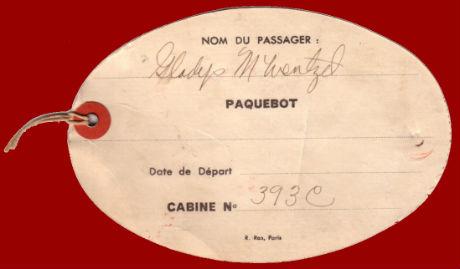 PAQUEBOT NORMANDIE - Etiquette de bagage 1ère Classe - Cartonnée ovale grand format REF. EBC1CL 3-1 Verso