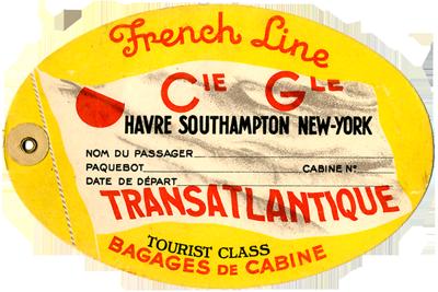 PAQUEBOT NORMANDIE - Etiquette de bagage 2ème Classe - Cartonnée ovale grand format REF. EBC2CL 3-1