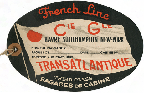 PAQUEBOT S.S NORMANDIE - Etiquette de bagage 3ème Classe - Cartonnée ovale grand format REF. EBC3CL 2-1