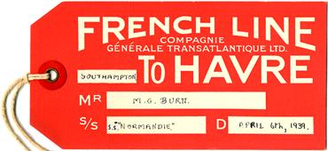 S.S NORMANDIE - Etiquette de bagage Ligne Southampton-Le Havre Réf. EBCDIV-1-1-R-PSB