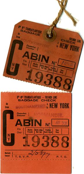 S.S NORMANDIE - Etiquette de bagage Ligne Southampton-New York Réf. EBCDIV-2-1-R-PSB