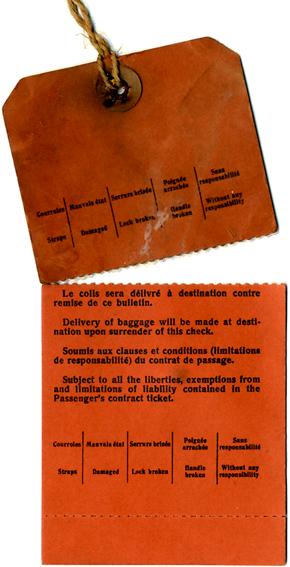 S.S NORMANDIE - Etiquette de bagage Ligne Southampton-New York Réf. EBCDIV-2-1-V-PSB