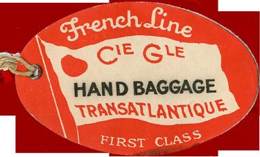 PAQUEBOT S.S NORMANDIE - ETIQUETTE DE BAGAGE TRAIN PAQUEBOT 1ère CLASSE PETIT FORMAT OVALE 1-1 Recto