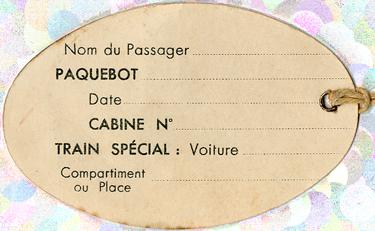 PAQUEBOT S.S NORMANDIE - ETIQUETTE DE BAGAGE TRAIN PAQUEBOT 1ère CLASSE PETIT FORMAT OVALE 1-1 Verso