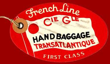 PAQUEBOT S.S NORMANDIE - ETIQUETTE DE BAGAGE TRAIN PAQUEBOT 1ère CLASSE PETIT FORMAT OVALE 1-3 Recto