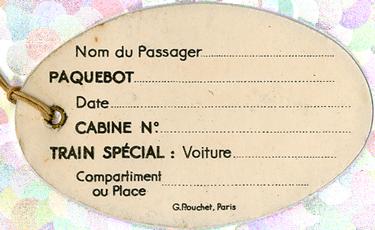 PAQUEBOT S.S NORMANDIE - ETIQUETTE DE BAGAGE TRAIN PAQUEBOT 1ère CLASSE PETIT FORMAT OVALE 2-2-1 Verso