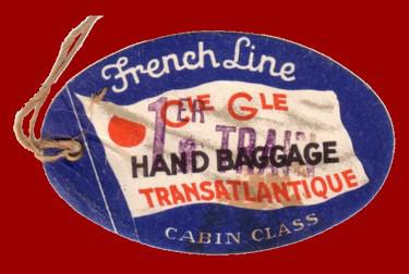 PAQUEBOT S.S NORMANDIE - ETIQUETTE DE BAGAGE TRAIN PAQUEBOT 1ère CLASSE PETIT FORMAT OVALE 2-2-2 Recto