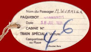 PAQUEBOT S.S NORMANDIE - ETIQUETTE DE BAGAGE TRAIN PAQUEBOT 1ère CLASSE PETIT FORMAT OVALE 2-2-2 Verso