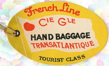 PAQUEBOT S.S NORMANDIE - ETIQUETTE DE BAGAGE TRAIN PAQUEBOT CLASSE TOURISTE PETIT FORMAT OVALE 1-1 Recto