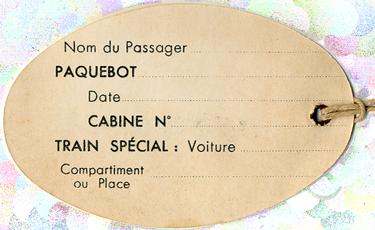 PAQUEBOT S.S NORMANDIE - ETIQUETTE DE BAGAGE TRAIN PAQUEBOT CLASSE TOURISTE PETIT FORMAT OVALE 1-1 Verso