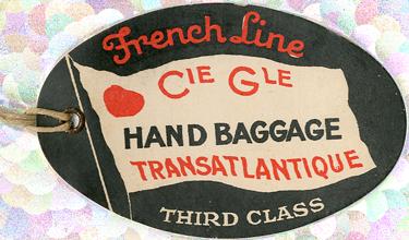 PAQUEBOT S.S NORMANDIE - ETIQUETTE DE BAGAGE TRAIN PAQUEBOT 3ème CLASSE PETIT FORMAT OVALE 1-1 Recto
