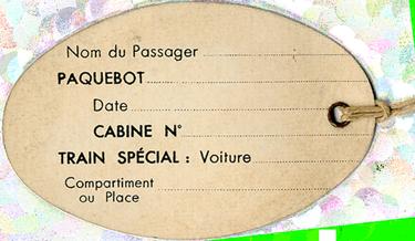 PAQUEBOT S.S NORMANDIE - ETIQUETTE DE BAGAGE TRAIN PAQUEBOT 3ème CLASSE PETIT FORMAT OVALE 1-1 Verso