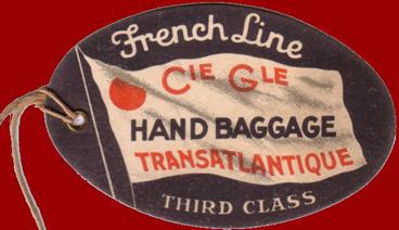 PAQUEBOT S.S NORMANDIE - ETIQUETTE DE BAGAGE TRAIN PAQUEBOT 3ème CLASSE PETIT FORMAT OVALE 1-2 Recto