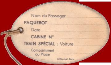 PAQUEBOT S.S NORMANDIE - ETIQUETTE DE BAGAGE TRAIN PAQUEBOT 3ème CLASSE PETIT FORMAT OVALE 1-2 Verso
