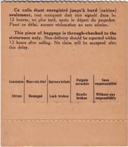Etiquette de bagage de train paquebot pour bagage non-accompagné Réf. EBCTPDIV 2-2 V PSB