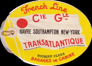 PAQUEBOT S.S NORMANDIE - ETIQUETTE DE BAGAGE TRAIN PAQUEBOT CLASSE TOURISTE GRAND FORMAT OVALE 2-1 Recto