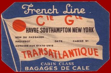 PAQUEBOT S.S NORMANDIE - ETIQUETTE DE BAGAGE 1ère CLASSE OCTOGONALE 4-2