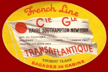 PAQUEBOT S/S NORMANDIE - ETIQUETTE DE BAGAGE 2ème CLASSE GOMMEE 1-2