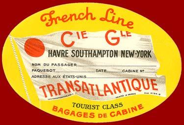 S.S NORMANDIE - Etiquette de bagage Classe Touriste - Ovale gommée - Réf. EBG2CL-1-3-PSB