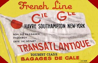 PAQUEBOT S.S NORMANDIE - ETIQUETTE DE BAGAGE DE CALE OCTOGONALE GOMMEE - REF. EBG2CL 2-1