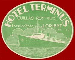 ETIQUETTE DE BAGAGE PUBLICITAIRE HOTEL TERMINUS - LORIENT 1-2