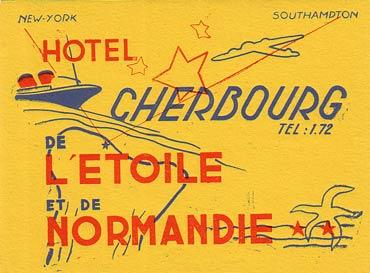 ETIQUETTE DE BAGAGE PUBLICITAIRE HOTEL DE L`ETOILE ET DE NORMANDIE