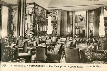 S.S NORMANDIE - CARTE POSTALE CLASSIQUE SEPIA EDITEUR ELD 10-3