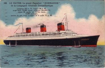 S.S NORMANDIE - Carte postale couleurs classique Edition ELD - Réf. 1-648-1 Recto