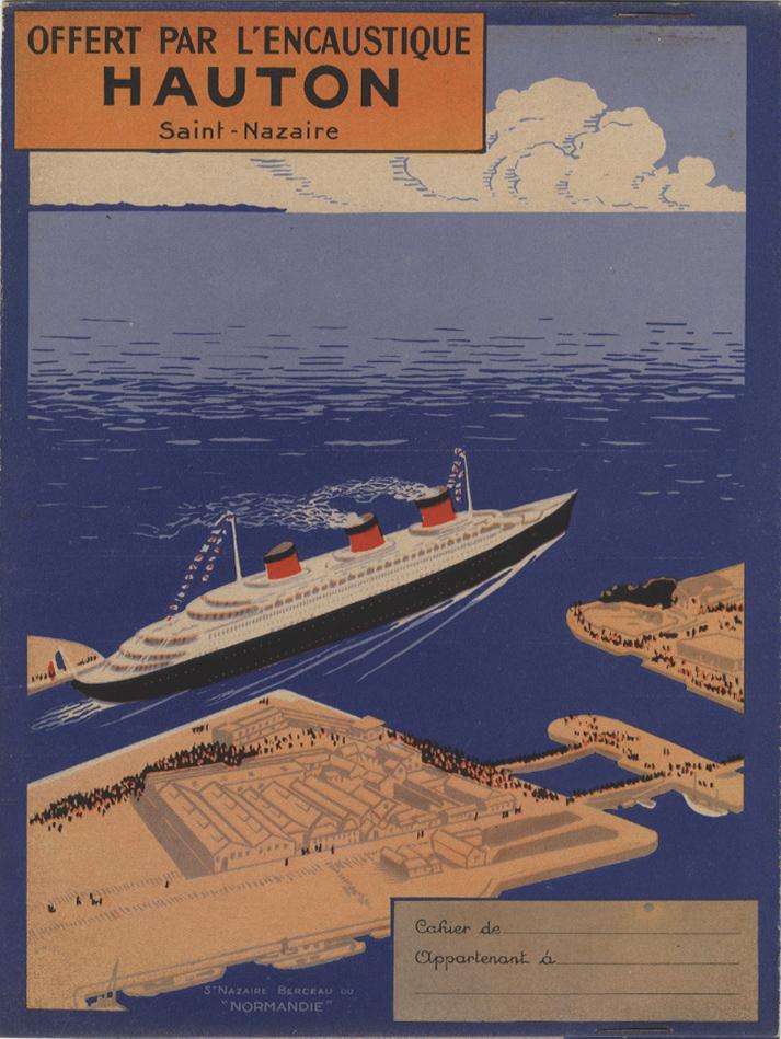 Paquebot Normandie - Protège-cahier ENCAUSTIQUE HAUTON