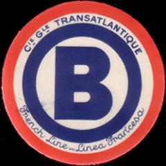 ETIQUETTE DE QUAI - LETTRE B - FRENCH LINE - LINEA FRANCESA