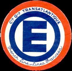 ETIQUETTE DE QUAI - LETTRE E - FRENCH LINE - LINEA FRANCESA
