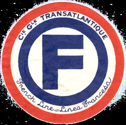 ETIQUETTE DE QUAI - LETTRE F - FRENCH LINE - LINEA FRANCESA