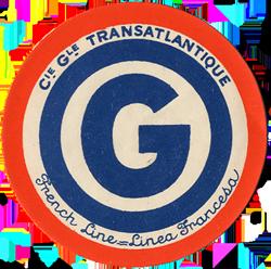 ETIQUETTE DE QUAI - LETTRE G - FRENCH LINE - LINEA FRANCESA