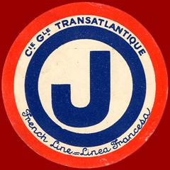 ETIQUETTE DE QUAI - LETTRE J - FRENCH LINE - LINEA FRANCESA