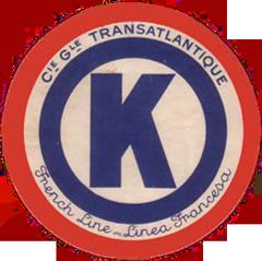 ETIQUETTE DE QUAI - LETTRE K - FRENCH LINE - LINEA FRANCESA