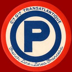 ETIQUETTE DE QUAI - LETTRE P - FRENCH LINE - LINEA FRANCESA