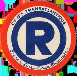 ETIQUETTE DE QUAI - LETTRE R - FRENCH LINE - LINEA FRANCESA