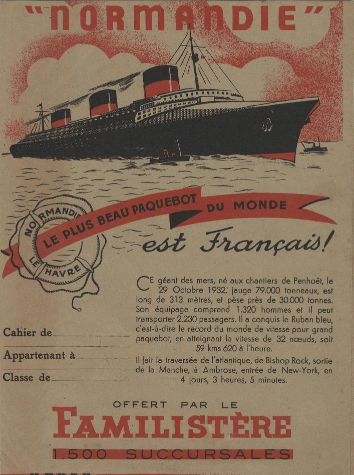 Paquebot Normandie - Protège-cahier LE FAMILISTERE
