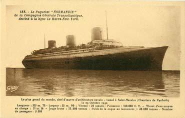 S/S NORMANDIE - Carte postale Petit format classique GAB-ARTC 4-1-183 Recto
