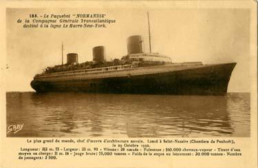 S.S NORMANDIE - Carte postale classique sépia - Editeur ARTAUD-GABY - Réf. 4-1-185