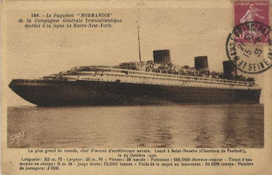 Paquebot Normandie - Carte postale classique GABY ARTAUD - Réf. 4 -1 - 186