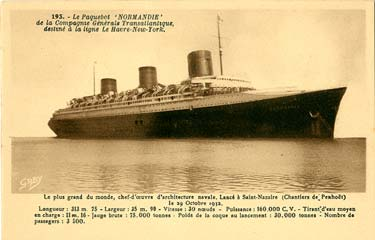 S.S NORMANDIE - Carte postale classique sépia - Editeur ARTAUD-GABY - Réf. 4-2-193
