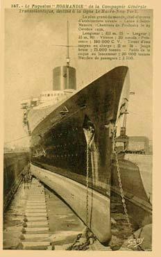 Paquebot S.S. NORMANDIE - Carte-postale classique sépia - Editeur : GABY-ARTAUD - Réf. Site : GAB-ARTC 5-2-167 ES